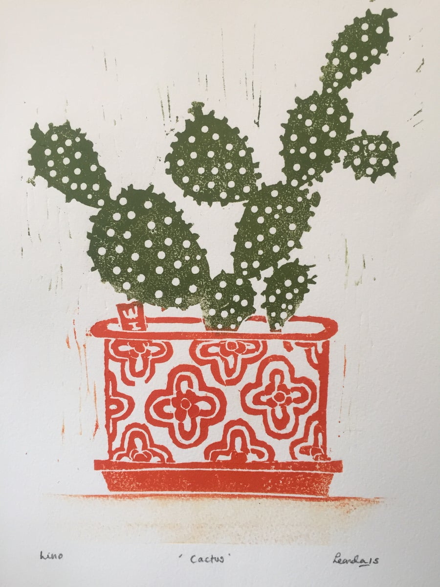 Image of ' Cactus ' Screen Print  (orange) (brown) (pink)