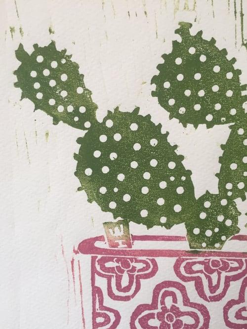Image of ' Cactus ' Screen Print  (orange) (brown) (pink)