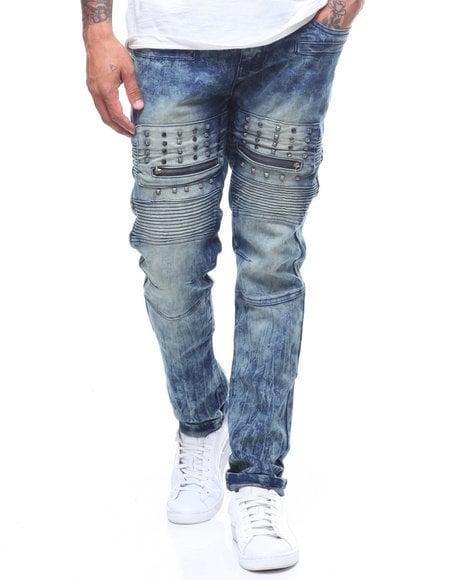 Image of Blue Tint Stud Detail Moto Jeans