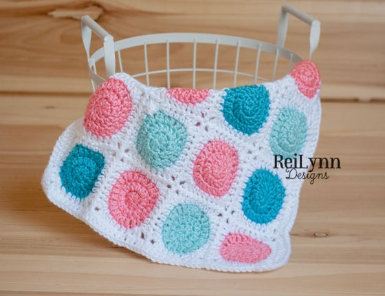 Image of Truffle Mini Afghan in White, Aqua, Coral and Turquoise