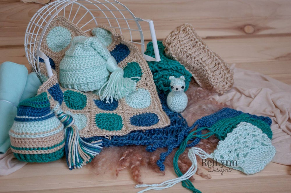 Image of Truffle Mini Afghan in Bone, Mint, Ocean and Teal