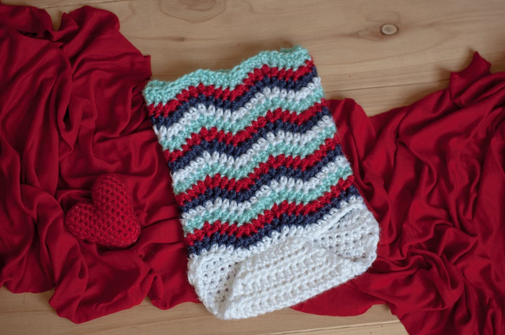 Image of Red, Navy, Aqua and White Chevron Romper