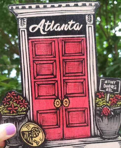Image of Tiny Doors ATL woodcut print