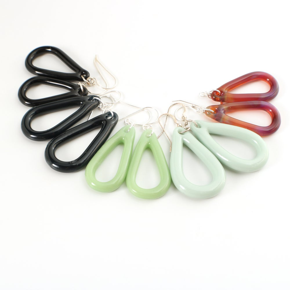 Image of Borosilicate Open Teardrop Earrings- Smaller Size
