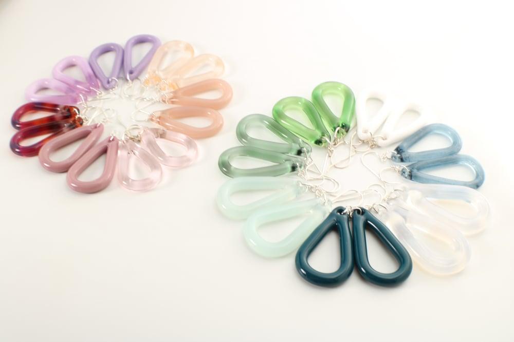 Image of Borosilicate Open Teardrop Earrings- Larger Size