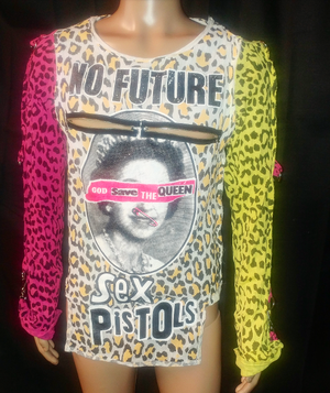 Image of Sex Pistols full leopard print bondage shirt yellow pink sleeves with Beat me back print