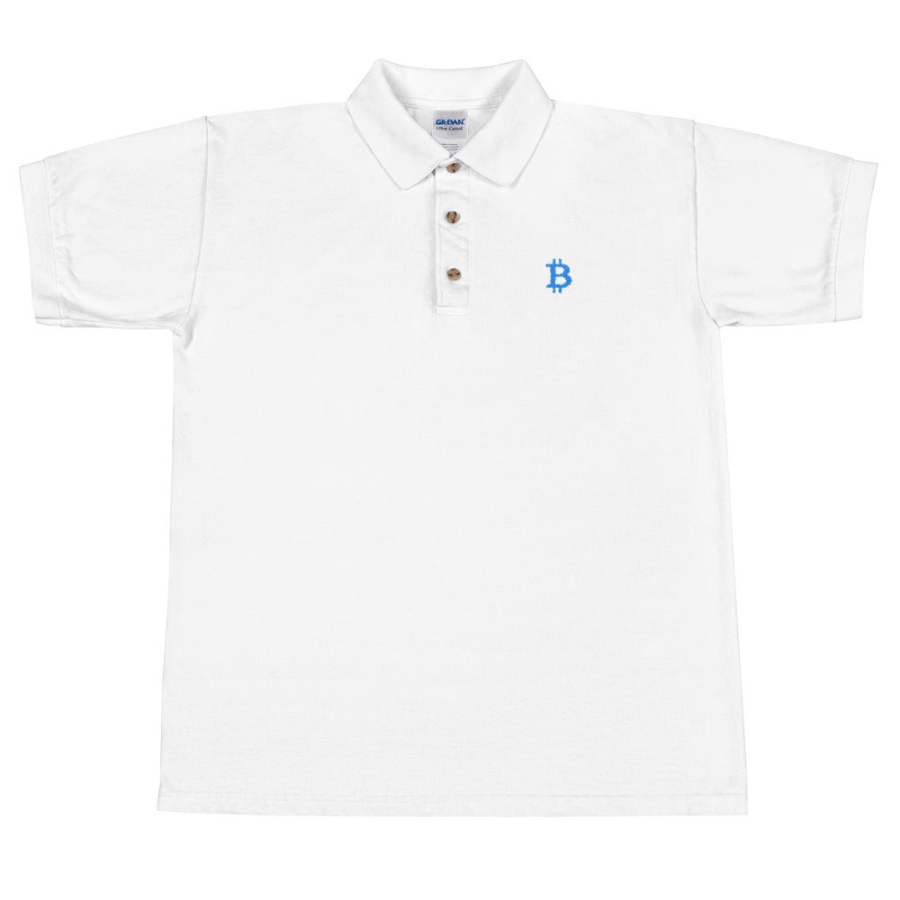 Image of bitcoin polo tee (white)