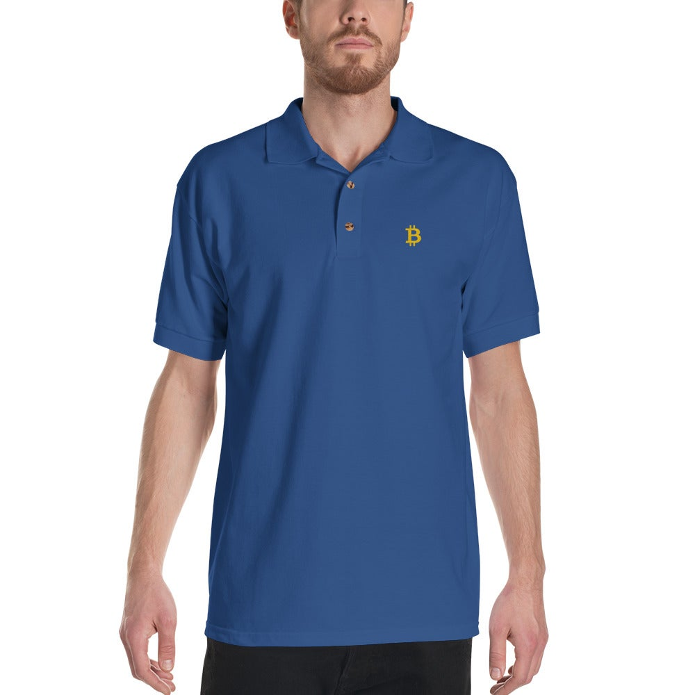 Image of bitcoin polo tee (blue)