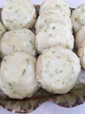 Image of Frosted Coconut Lime Shortbread Cookies - TWO DOZEN