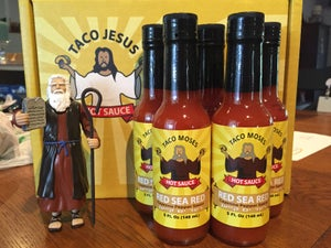 Image of Limited Edition<BR>Taco Moses Red Sea Red<BR>Cayenne Pepper Hot Sauce