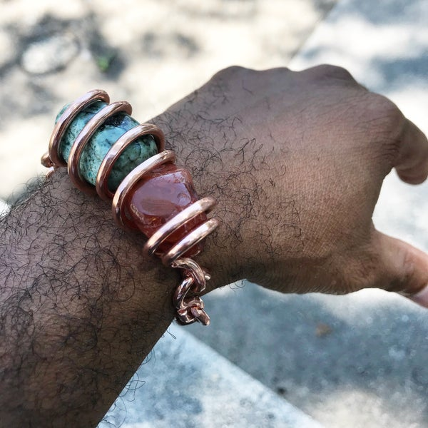 Image of Carnelian & Turquoise Set Crystal Bracelet