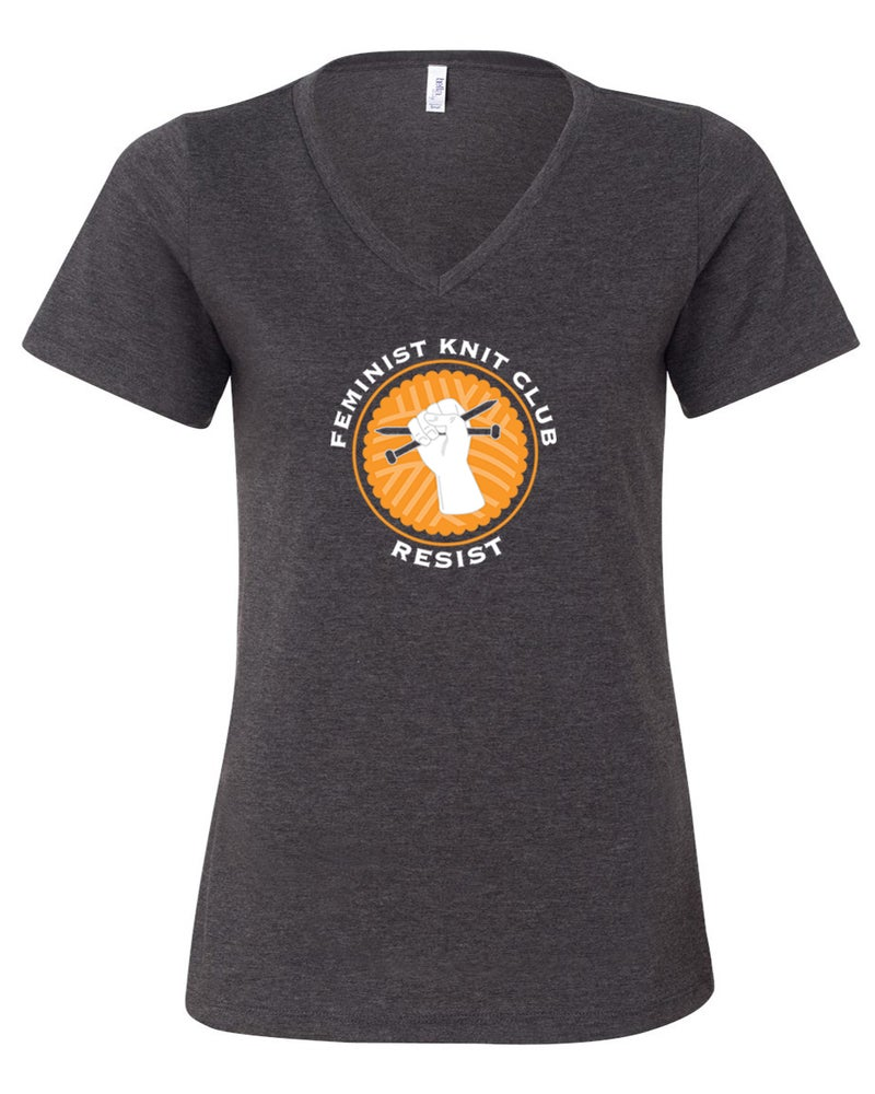 Image of Charcoal V-Neck Feminist Knit Club Tee
