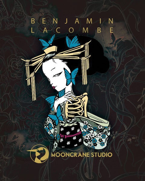 Image of Madam Butterfly Skeleton Enamel Pin by Benjamin Lacombe