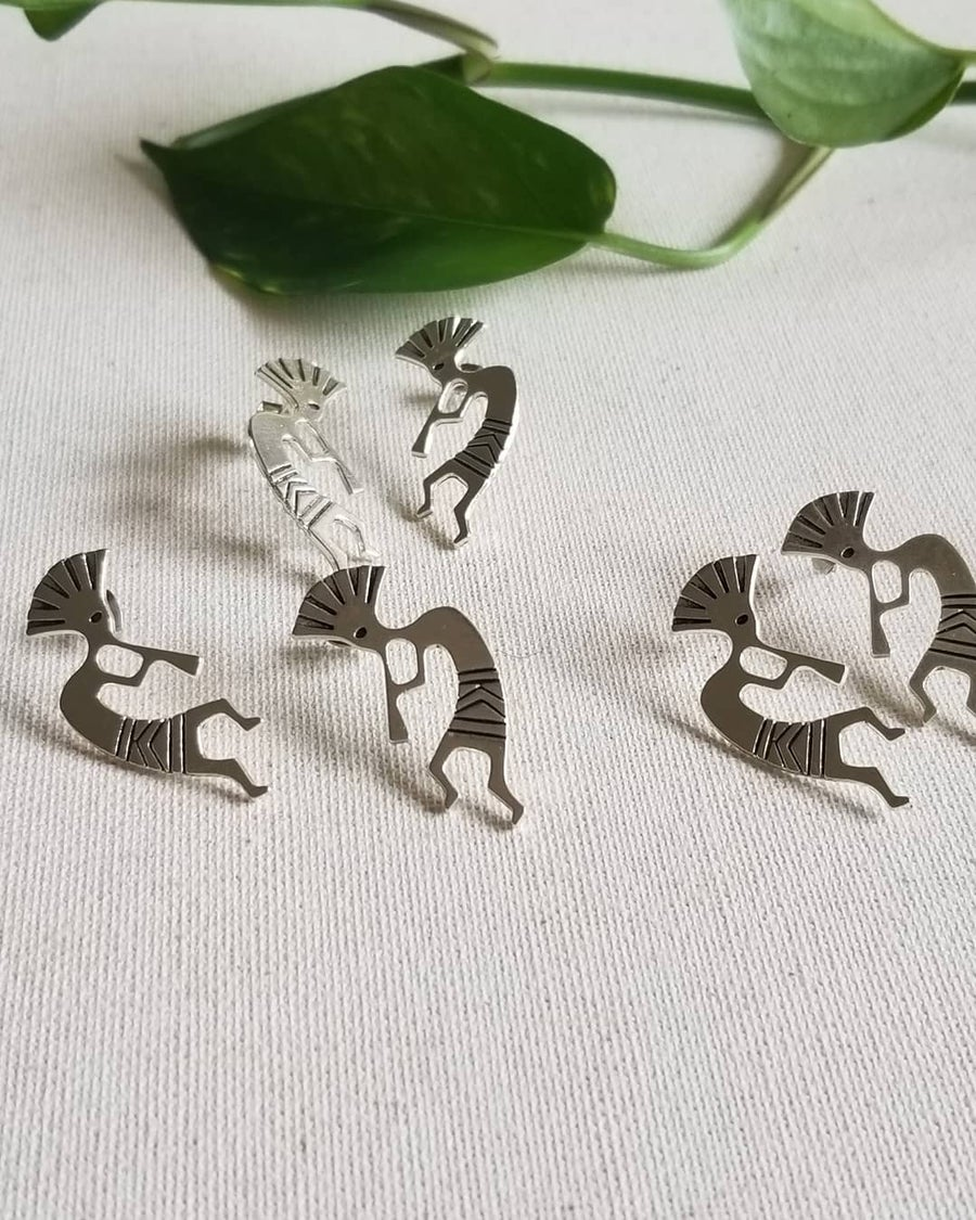 Image of Muziki • Tribal Flute Player Stud Earrings