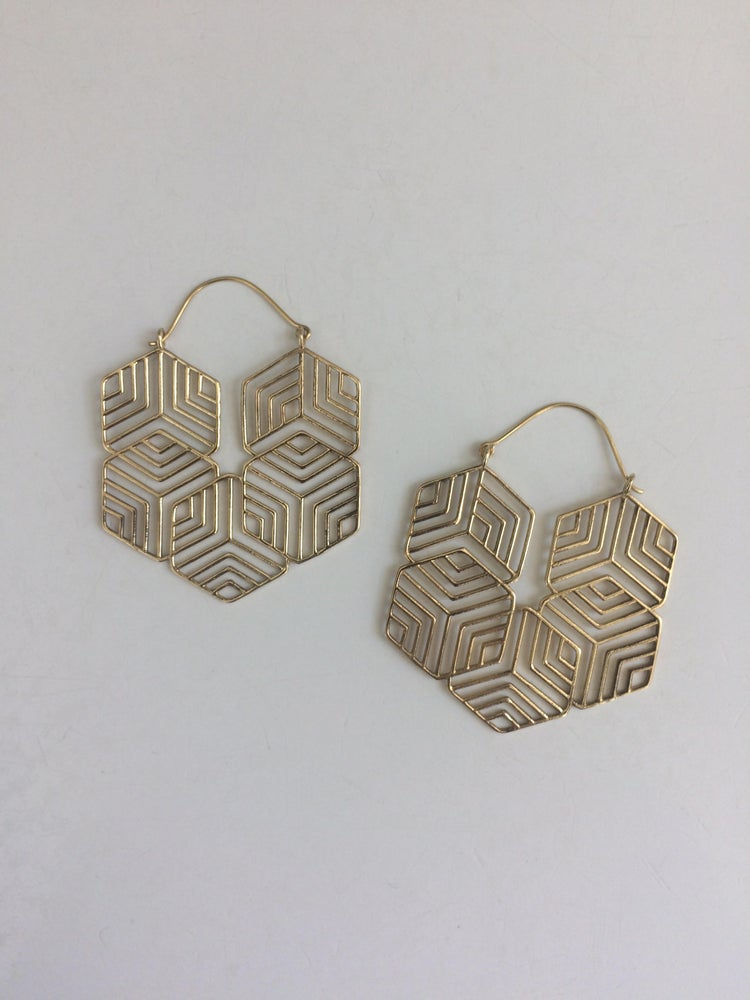 Image of Brass Geometric Maze Hoops