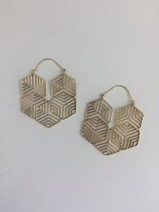 Image of Brass Geometric Maze Hoops