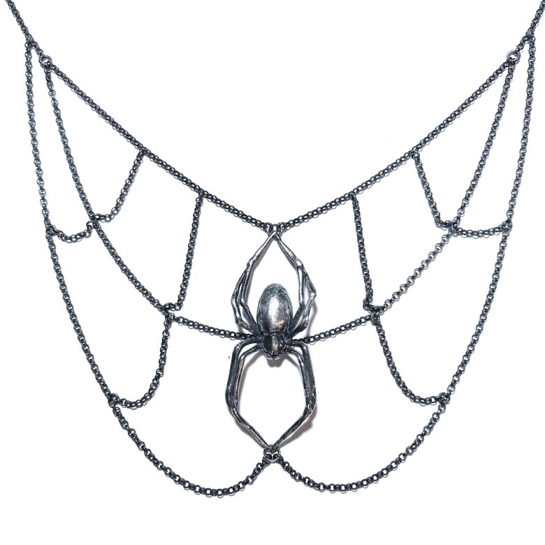 Image of Orb Weaver necklace in oxidized sterling silver