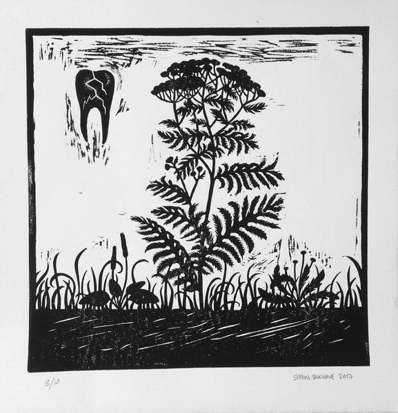Image of Linoleum print - Den Sorte Ridder, print 1