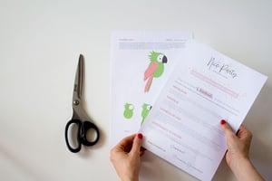 Image of Plantillas imprimibles Tucán loro verde y rosa