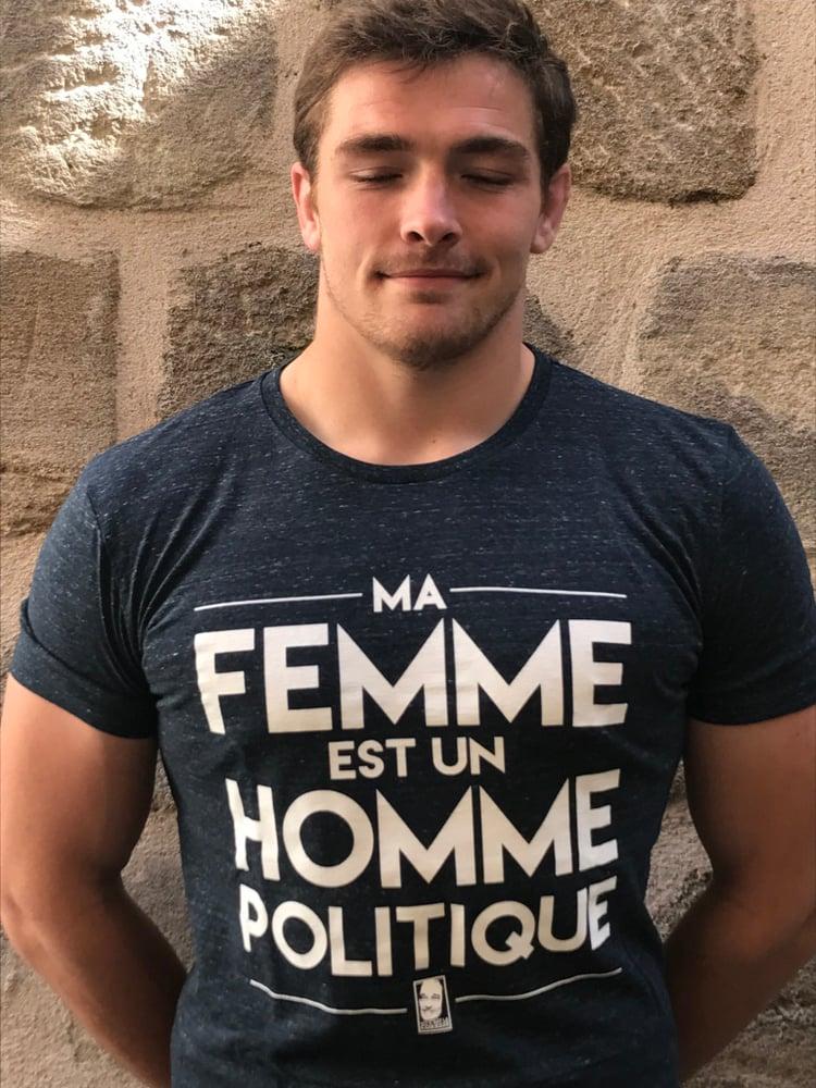 """Image of T-Shirt """"Ma Femme est un Homme Politique"""" Bleu Chiné"""