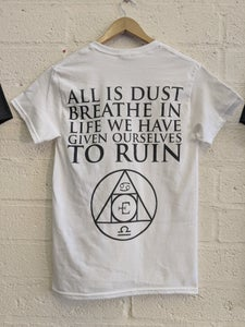 Image of White Unisex Alchemy Tshirt with back print and pocket logo