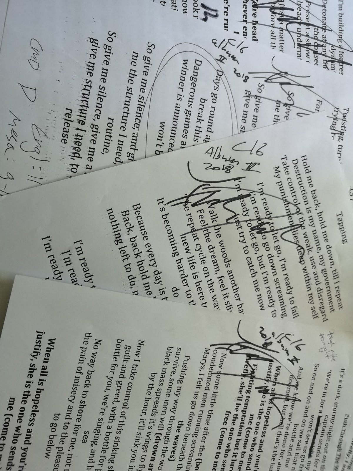 Image of Album 2 signed lyric sheets. TWO REMAINING.