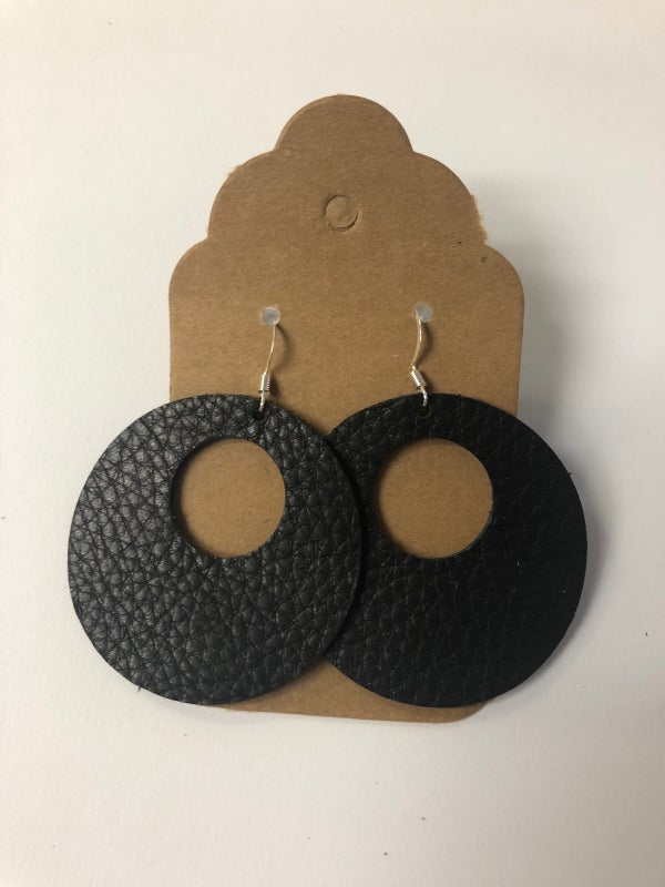 Image of Leather Earrings - Black Circle Cutout