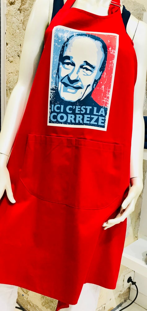 Image of Tablier Chirac Bleu Blanc Rouge (Rouge)
