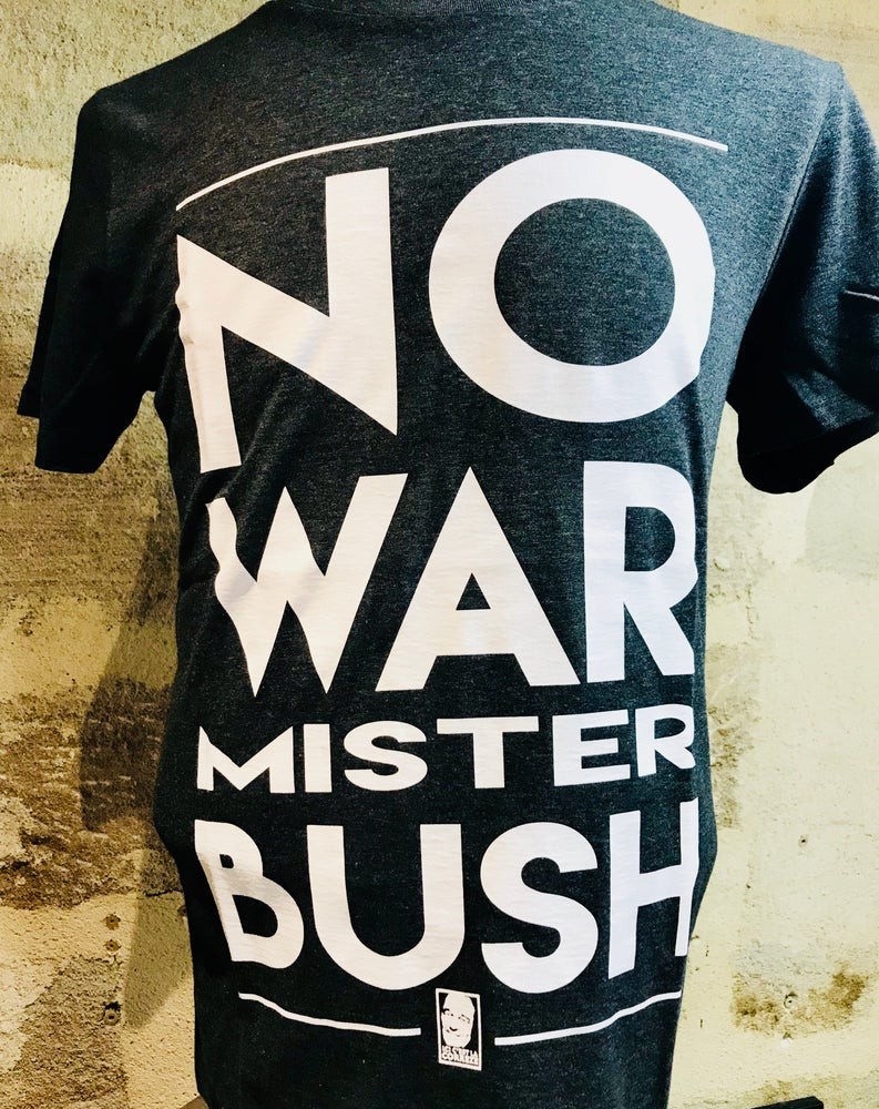 "Image of T-Shirt Chirac ""No War Mister BUSH"" Bleu"