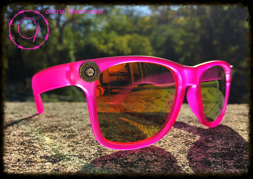 Image of Speer 9mm Hot Pink Sunglasses with White Swarovski Crystals