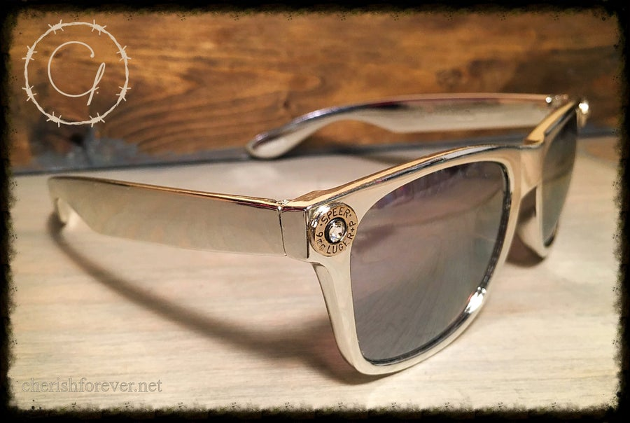 Image of Speer 9mm Metallic Silver Sunglasses with White Swarovski Crystals