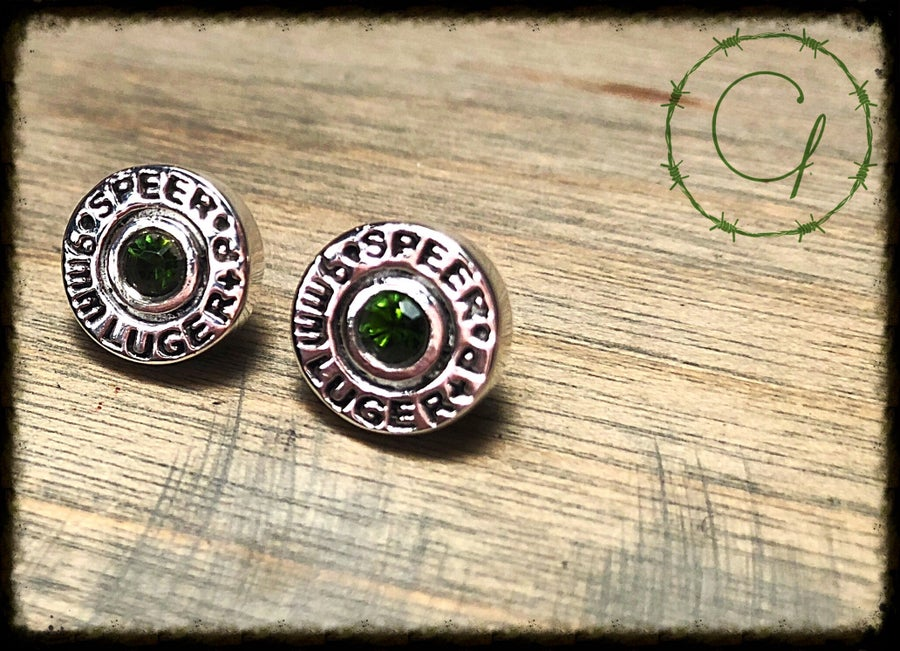 "Image of Speer 9mm ""Marine Green"" Tourmaline Earrings"