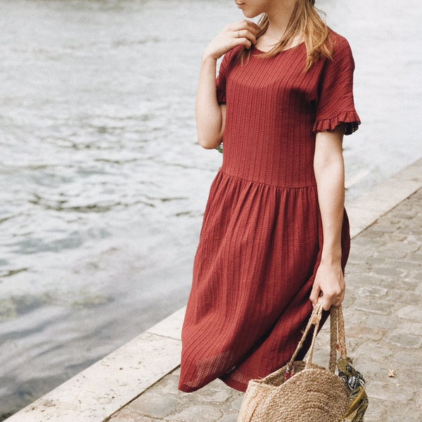 Robe Rosa Bordeaux - Maison Brunet Paris