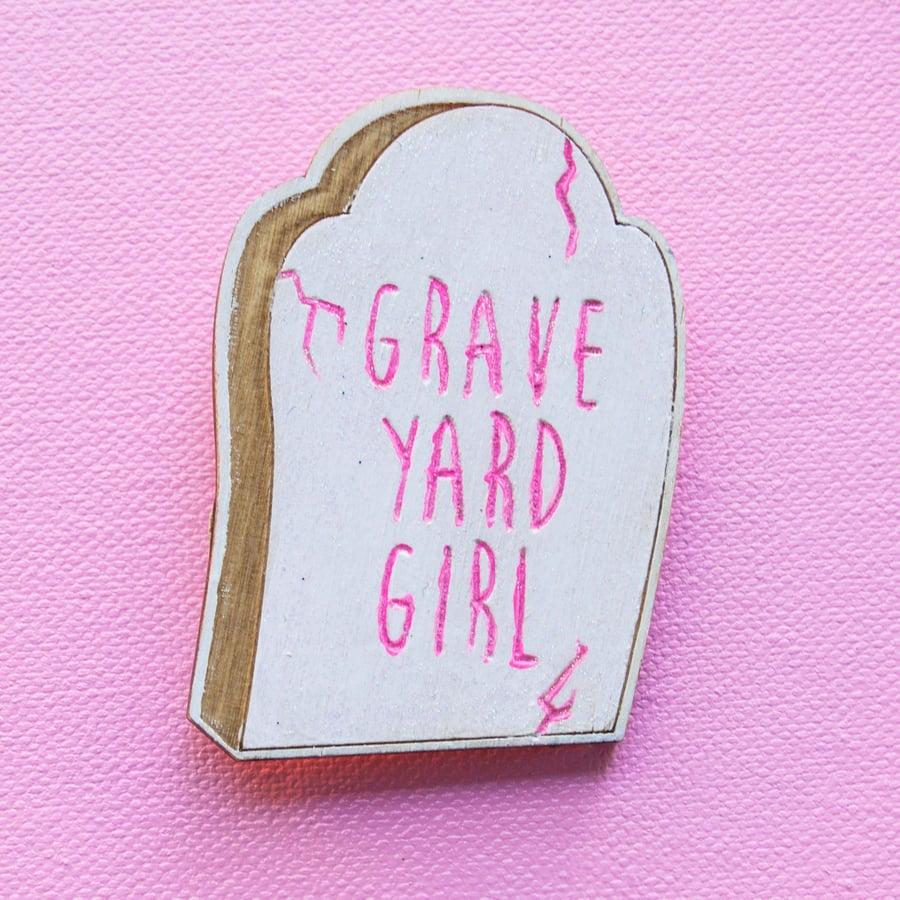 Image of Grave Yard Girl Wood Pin