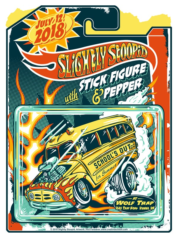 "Image of Slightly Stoopid - School's Out For Summer 2018 ""Hot Wheels"" Poster"