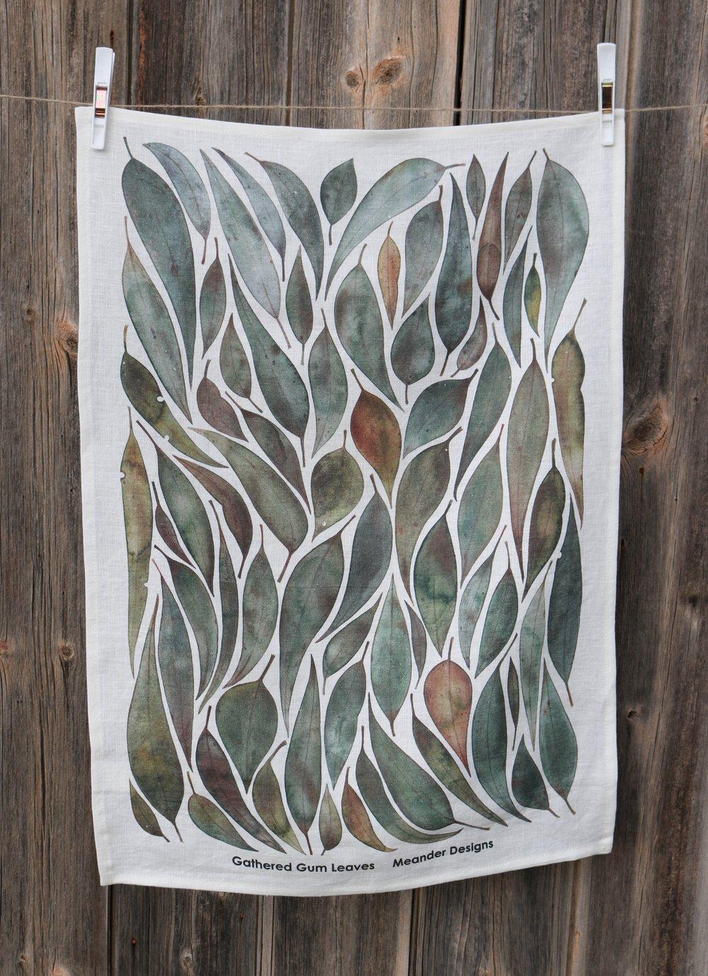 Image of Gathered Gumleaves Linen Tea Towel