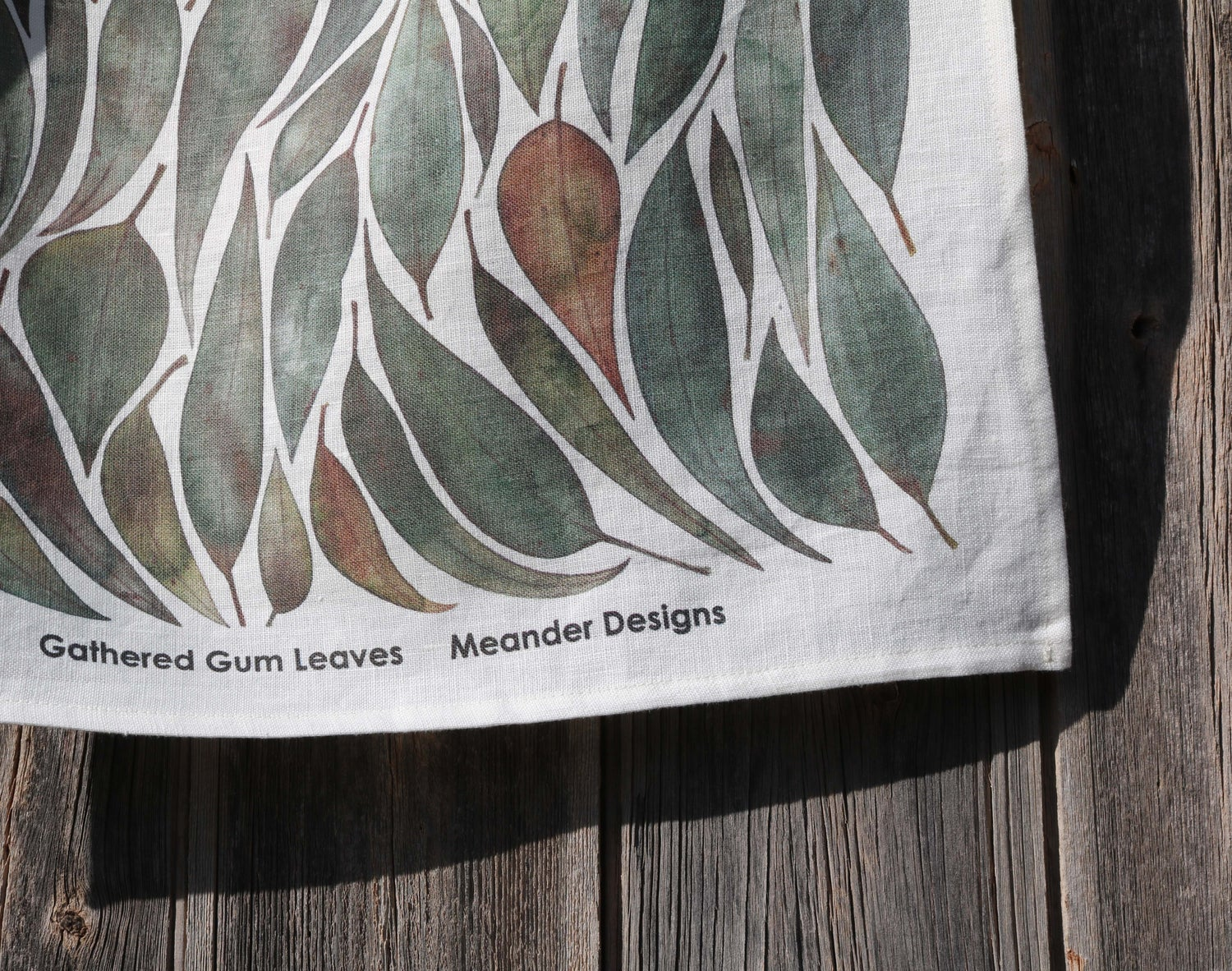 Image of Gathered Gumleaves Linen Tea Towel