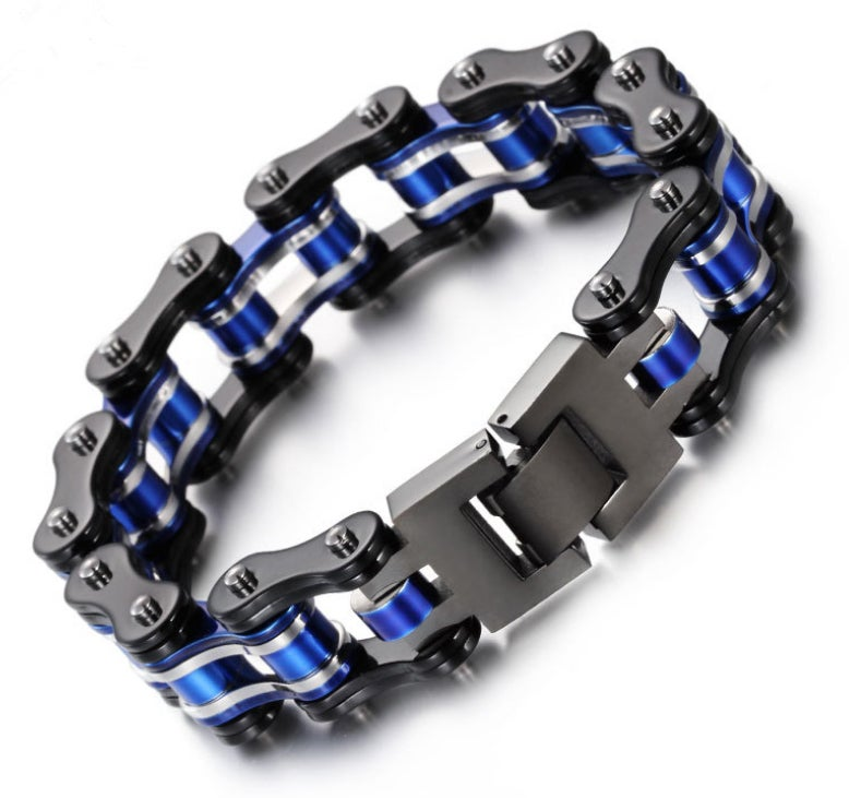 Image of  Blue Black Silver Stainless Steel Chain Bracelet