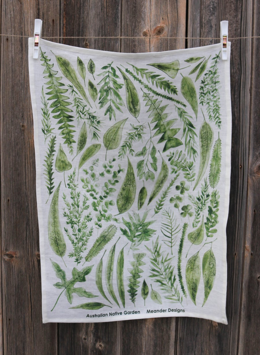 Image of Australian Native Garden Linen Tea Towel