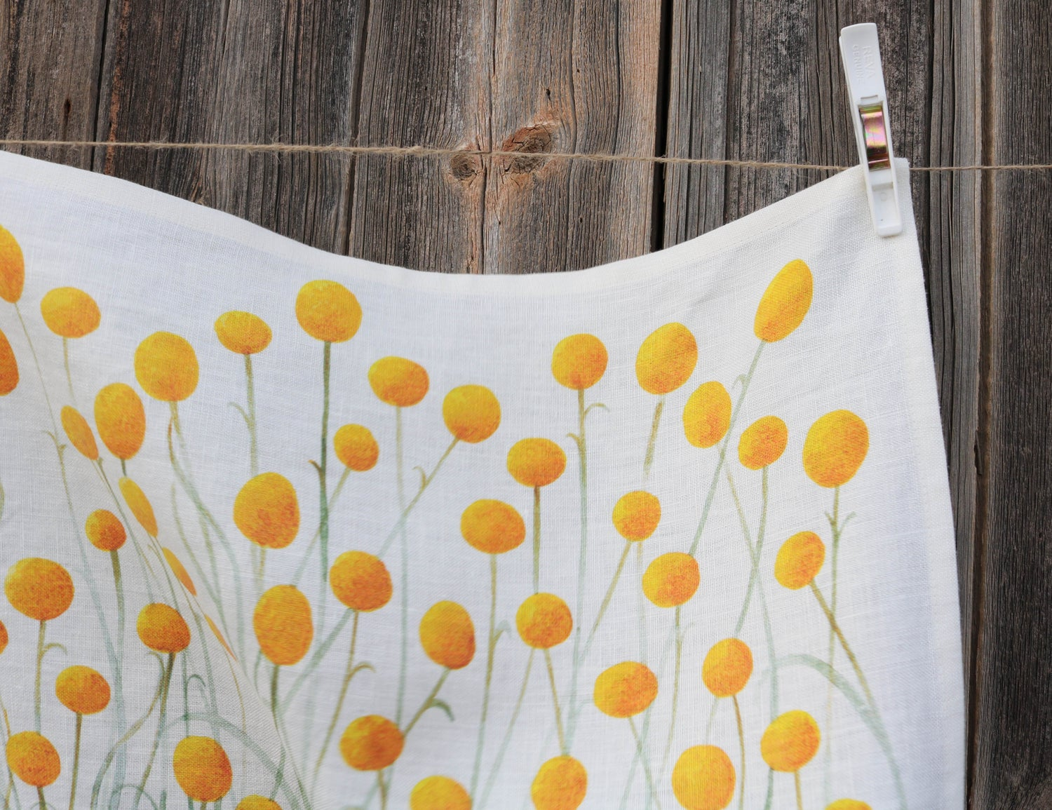 Image of Billy Buttons Linen Tea Towel