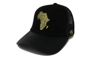 Image of M'Afrique Cap - (Black w/ Faux Leather Peak, Suede & Mesh)