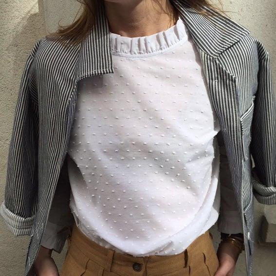 Blouse Claudia Plumetis blanc  135€  -70% - Maison Brunet Paris