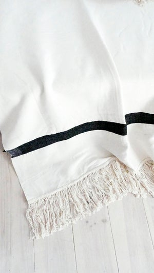 Image of Large Fringes Cotton Moroccan Blanket - Ecru with Bands