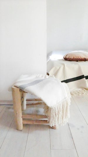 Image of Fringes Cotton Moroccan Blanket - Ecru with Bands in Grey