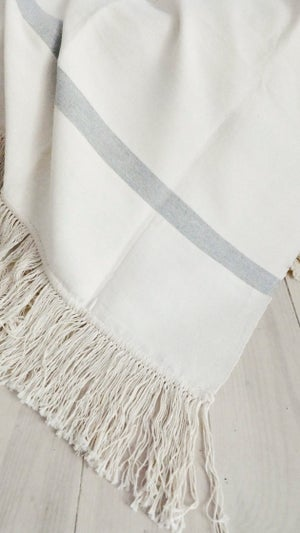 Image of Fringes Cotton Moroccan Blanket - Ecru with Bands