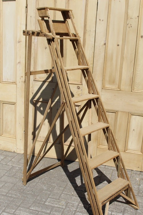 Image of Vintage Pine lattice step ladders