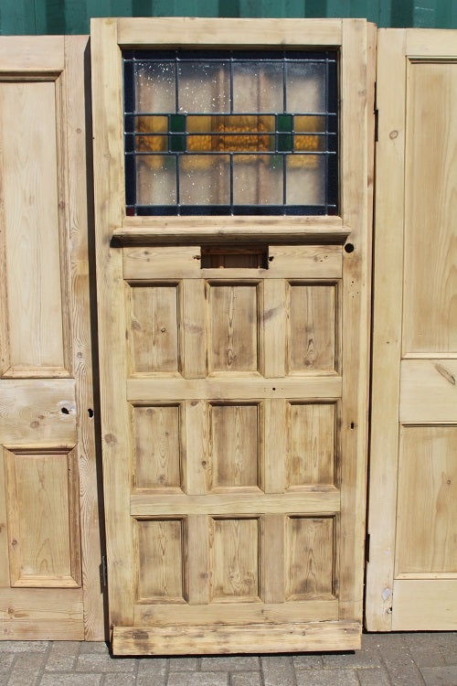 Image of 1930s Front Door with stained Glass Panel