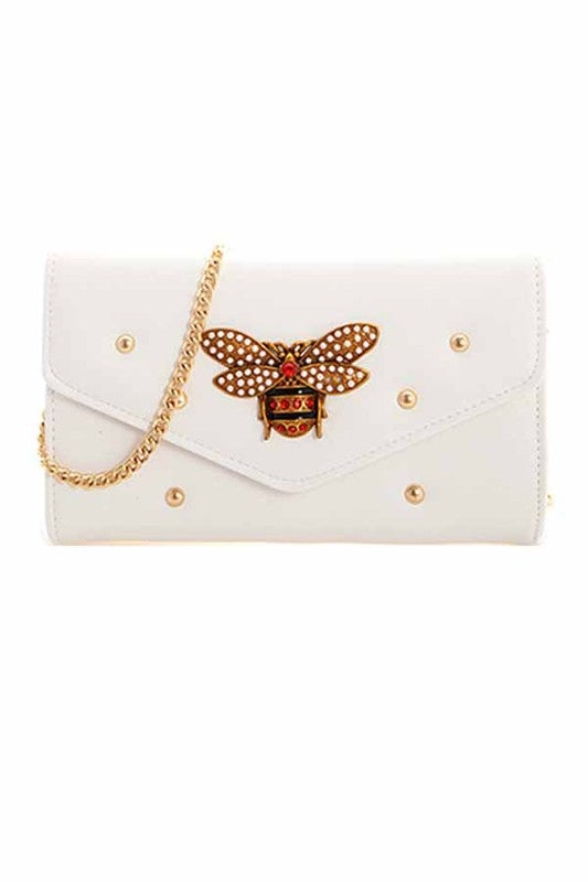 Image of Rhinestone Bee and Stud Clutch