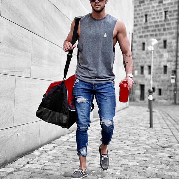 Image of GREY SLEEVELESS TEE