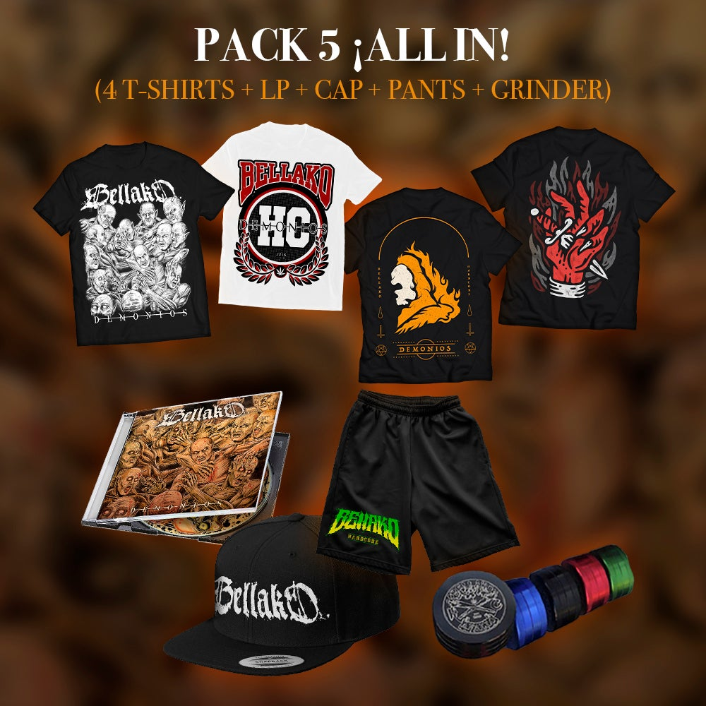 Image of  Pack 5 - ¡ALL IN! [4 T-Shirts + LP + Cap + Pants + Grinder]